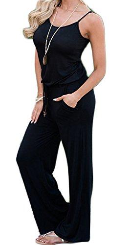Cotton Knit Romper - Artfish Women Sexy Sleeveless Spaghetti Strap Casual Summer Jumpers Jumpsuit (S, Black 049)