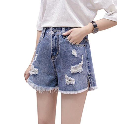 Denim Pants Larga Jeans Gamba Alta Jeans Strappata Estate Donna Pantaloncini Larghi Shorts Blu Vita Pantaloncini Hot NiSengs Scuro3 PWOqRZcw