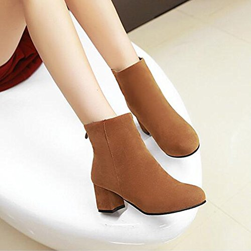 Heel Back Faux Ankle Trendy Brown Boots Suede Medium Aisun Women's Zipper Block Round Toe qAazn8EwB