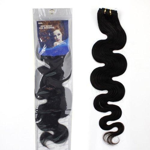 "10-28 inch 100% RAW Virgin Brazilian Remy Human Hair Extensions Wavy Weave Weft Bundle #1B (10"")"