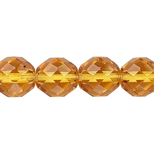 Bead Czech fire-polished glass honey 12mm faceted round