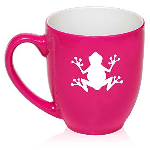 16 oz Large Bistro Mug Ceramic Coffee Tea Glass Cup Frog (Hot Pink)