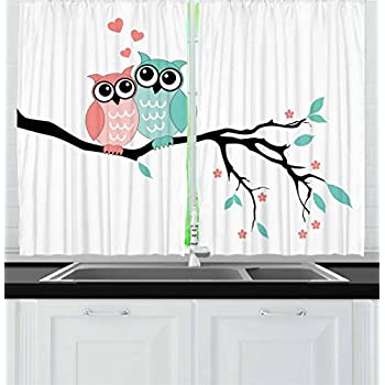Ambesonne Teal and White Kitchen Curtains, Owl Couple Sitting on Tree Branch Valentines Romance Love, Window Drapes 2 Panel Set for Kitchen Cafe Decor, 55