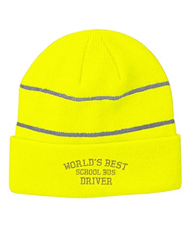 Worlds Best School Bus Driver Embroidery Acrylic Beanie Reflective Stripes Neon Yellow Worlds Best Bus Driver