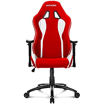 Akracing AK-5015 Nitro Ergonomic Series Racing Style Gaming Office Chair with Lumbar and Headrest Pillow - White/Red