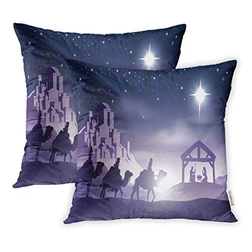 Emvency 18x18 Inch Decorative Set of 2 Throw Pillow Cover Christmas Christian Nativity Scene Baby Jesus in The Manger Silhouette Three Wise Square Home Cushion Sofa Two Sides Pillow Case]()