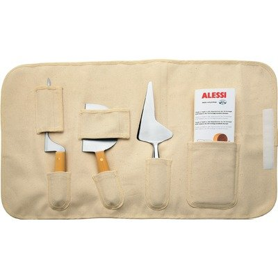 Officina Alessi Set of Soft Cheese Knives with Boxwood Handles, Grey by Alessi