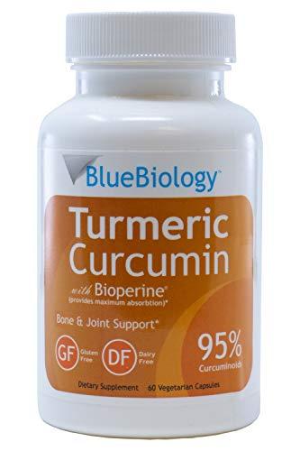 BlueBiology Turmeric Curcumin with Bioperine Extract (Enhanced Absorption) - 95% Curcuminoids - Highest Potency - Gluten Free - Vegan Joint Pain Relief - 60 Capsules