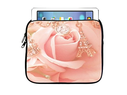 Beautiful Pink Rose With Gold Chain Design Print Image 7.5x8 inch Neoprene Zippered Tablet Sleeve Bag by Trendy Accessories for iPad, Kindle, Tab, Note, Air, Mini, Fire