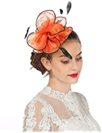 7af7c1bcd2b Fascinators Hat Sinamay Flower Mesh Feathers on a Headband and a Clip Tea  Party Headwear for