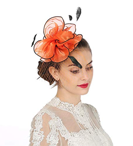 SAFERIN Fascinators Hat Flower Mesh Feathers on a Headband and a Clip Cocktail Halloween Cocktail Tea Party Headwear for Girls and Women (TA2-Orange)]()