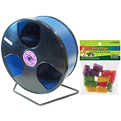 Transoniq Wobust Wodent Wheel 12 Inch Bundle with Ware Rice Pops Treat: Black with Blue Track
