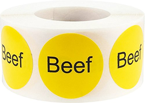 Yellow Beef Deli Labels 1 inch Round Circle Dot 500 Total Adhesive Stickers