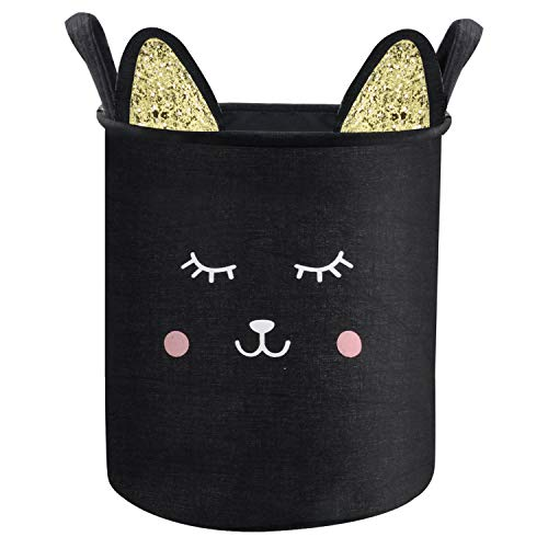 - Nidoul Cartoon Cat Laundry Basket, Cotton Linen Collapsible Laundry Hamper for Kids Room, Home Organizer, Damp-Proof Nursery Storage Bin with Durable Widened Handles (Black Cat)