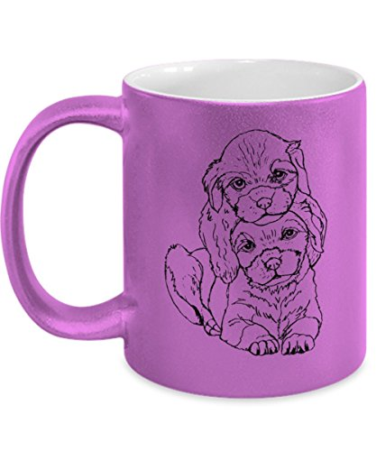 Cute Labrador Mug in Metallic Pink - 11oz Labrador Cup - Labrador Gifts - Labrador Puppies Coffee Mug