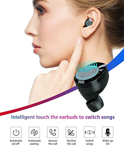 True Wireless Earbuds, Skoye Bluetooth 5.0 Headphones IPX7 Waterproof Built-in Mic with 3000mAh Charging Case for 1 Week Extended Playtime