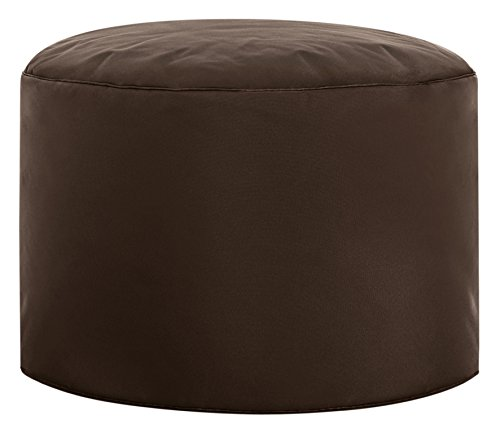 Contemporary Round Ottoman (Gouchee Home Brava Pouf Collection Contemporary Polyester Upholstered Round Pouf/Ottoman, Brown)