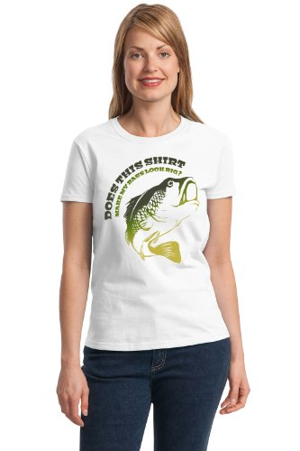 DOES THIS SHIRT MAKE MY BASS LOOK BIG? Ladies' T-shirt / Funny Fishing Joke Humor Shirt