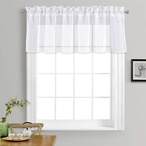 18 Inch Valance - NICETOWN Kitchen Window Treatment Voile Valances - Small Window Linen Look Sheer Curtain Tiers for Cafe Store (White, 2 Panels Per Package, 55 inches Wide x 18 inches Long)