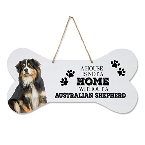 """LifeSong Milestones Australian Shepard Pet Quote Dog Bone Wall Hanging Sign, Dog Lovers Gifts for Women, Dog Owner Gift for Home Decor, 8"""" x 16"""" (A House is not a Home)"""