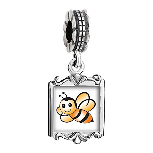 Baby Charms Bee (Silver Plated Lovely Honeybee Photo Family Mom & Baby Girl & Dad Dangle Bead Charm Bracelet)