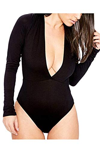 PinkWind Women's Sexy Plunge Deep V Neck Long Sleeve One Piece Bodysuit Jumpsuit Leotard(Black S)