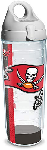 Buccaneers Freezer - Tervis NFL Tampa Bay Buccaneers Colossal Wrap Individual Water Bottle with Gray Lid, 24 oz, Clear - 1141267