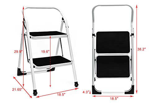 Delxo 2 Step Ladder Folding Step Stool Lightweight Steel