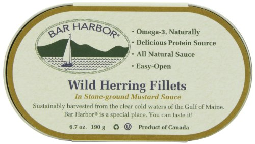 Bar Harbor Wild Herring Fillets in Stone Ground Mustard, 6.7 Ounce,  Pack of (Filet Coffee)