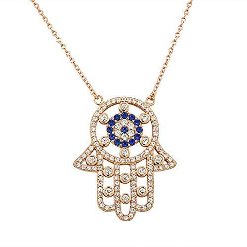 925 Sterling Silver Evil Eye Hamsa White Blue CZ Large Womens Pendant Necklace