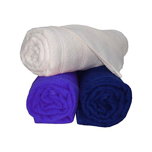 Welhome Ecolite 250 GSM Cotton 3 Piece Bath Towel Set – White, Royal Blue and Navy