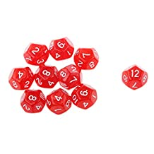 10pcs Twelve Sided Dice D12 Playing D&D RPG Party Games Dices Red