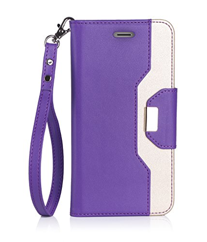ProCase iPhone 8 iPhone 7 Wallet Case, Stylish Folio Flip Card Case Stand Cover for Apple iPhone 7 / iPhone 8, with Kickstand Card Holder -Purple