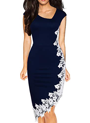Drimmaks Women's Retro Askew Neck White Lace Patchwork Hi-Low Pencil Wedding Guest Dress (023-Navy, L)