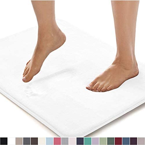 Gorilla Grip Original Thick Memory Foam Bath Rug, 42x24, Cushioned, Soft Floor Mats, Absorbent Premium's Bathroom Mat, Machine Washable, Luxury Plush Comfortable Carpet for Bath Room, Bright White