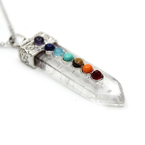 """7 Chakra White Quartz Pendant Necklace, Healing Point Pendants, 20"""" Non-Tarnish Chain"""