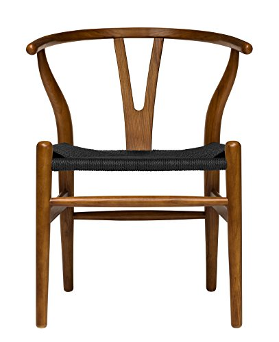 Hans Wegner Wishbone Style Woven Seat Chair (Walnut with Black ()