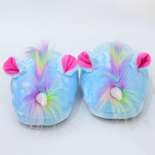 CHENGYANG Unisex Cartoon Animals Slipper Funny Winter Warm House Indoor Shoes Plush Non-Slip Slippers Blue#08 jBB69wVP0x