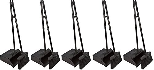 Carlisle 36141503 Duo-Pan Dustpan & Lobby Broom Combo, 3 Foot Overall Height, Black (5 DUSTPAN COMBOS) by Carlisle