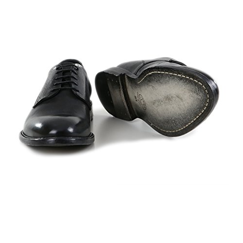 Vacchetta Stringata a Made Artigianali Colore Vintage Pelle di Uomo Nero Pelle Scarpe in Fatte in Derby Italy Vera Italiane Mano Calzature 100 6qdaCwII