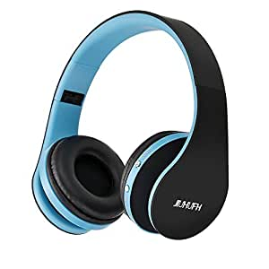 Bluetooth Headphones with Mic, JIUHUFH Portable Wireless Headset for iPhone/ Android/ Computer-Blue