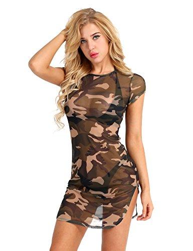 - iiniim Womens Lingerie Camouflage Side Slit Sheer Mesh See Through Chemise Mini Dress Camouflage S