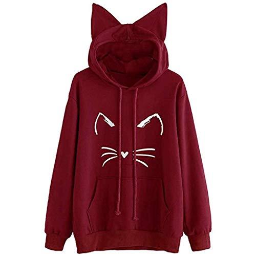 Kimloog Womens Long Sleeve Cat Ear Solid Hoodies Sweatshirt Kangaroo Pocket Pullover (L, Wine Red) (Issue Block Zip)