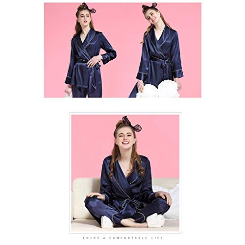 Ropa Manga Pantalones Taille Larga Pijama Basic Cinturón Pedazos Albornoz Moda Elastische Solapa Top Mujer De 2 Azul Con IwqaxgU