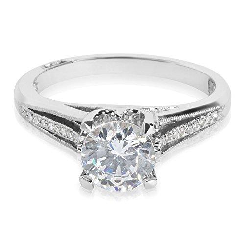 Tacori Platinum and Diamond Engagement Ring Setting with 7 mm Round CZ Center, 1/20 ct TDW, Size 5 (Tacori Platinum Engagement Rings compare prices)