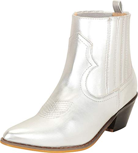 - Cambridge Select Women's Western Cowboy Pointed Toe Stitched Low Heel Ankle Bootie,8 B(M) US,Silver PU