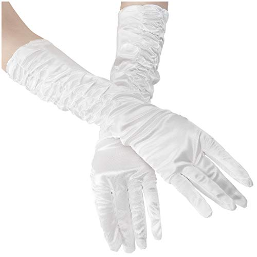 (Cosweet White Long Satin Finger Gloves- Classic Formal Long Bridal Gloves for Women Brides Evening Party Wedding Party Costume Party and Proms (14.9 Inch))