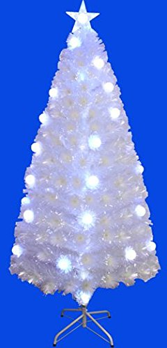 pre lit fiber optic sprkling white christmas tree with led light 5ft - Pictures Of White Christmas Trees Decorated
