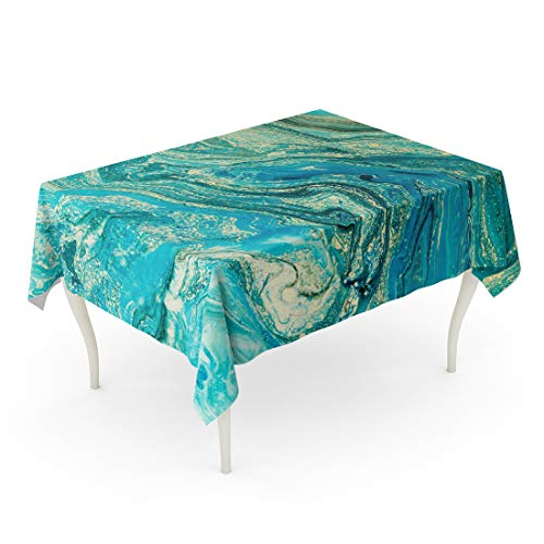 Semtomn 60 x 102 Inch Decorative Rectangle Tablecloth Blue Aquamarine Marbling Creative Abstract Oil Cracks Liquid Paint Waterproof Oil-Proof Printed Table Cloth ()