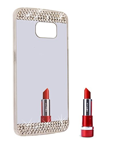 Berry Accessory(TM) Beauty Handmade Bling Diamond Rhinestone Mirror Soft TPU Silicone Case Back Cover for Samsung Galaxy S6 Edge Plus + Berry logo stand holder (Sliver Mirror + Bling)